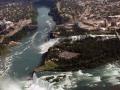 Ontario, Canada.  Niagara Falls The Aerican &  Horseshoe Falls - Aerial Photo