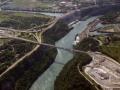 Ontario, Canada.  Niagara Falls The Rainbow Bridge - Aerial Photo