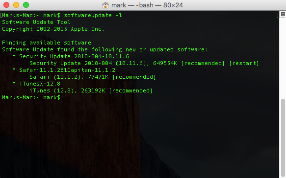 Mac Software Update Terminal Command