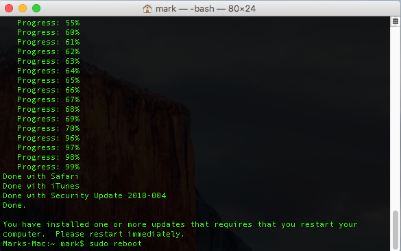 Mac Software Update Terminal Reboot
