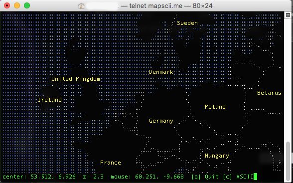 Ascii Map Europe
